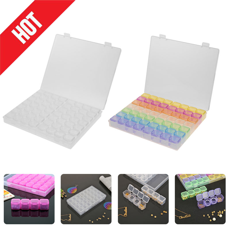 5D DIY Diamond Painting Drill Box Jewelry Box Rhinestone Embroidery Crystal Bead Organizer Storage Case Container