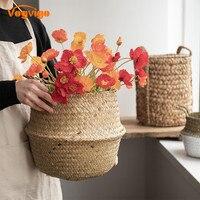 VOGVIGO سلة التخزين المعلقة ل اناء للزهور مع مقبض للطي زهرة زهرية الأعشاب البحرية النسيج وعاء النبات حديقة متعددة الوظائف أواني وأحواض زهور المنزل والحديقة -