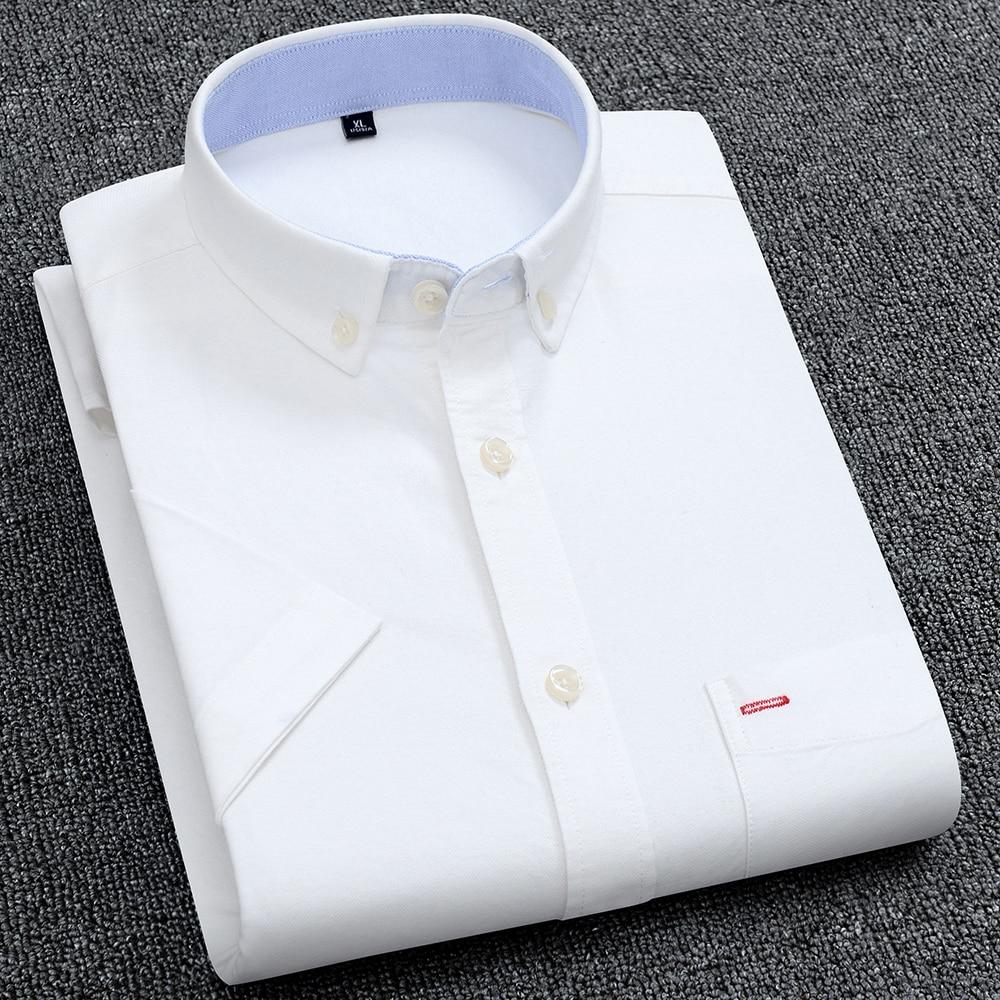 Men's Summer Pure Cotton Oxford Shirts Casual Slim Fit Design Short Sleeve Fashion Male Blouse Shirt 5