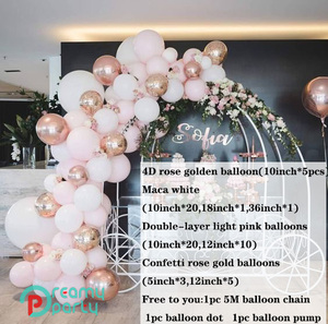 Image 2 - 65pcs 4D Round Rose Gold Balloon Garland Arch Mixed Light Pink White Latex  Balloons Strip Chain for Birthday Wedding Decoration