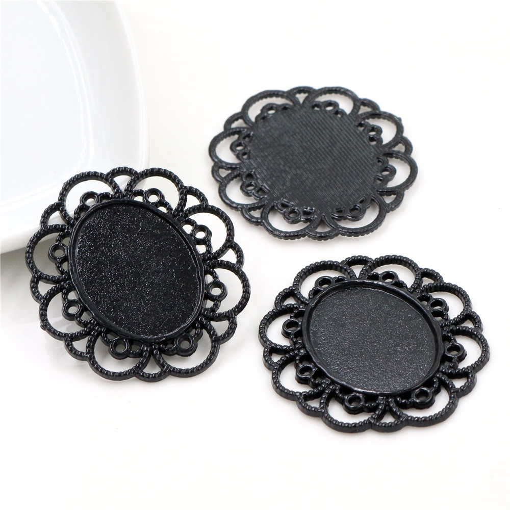 4pcs 18x25mm Inner Size Black Classic Style Cameo Cabochon Base Setting Charms Pendant Necklace Findings  (C1-35)