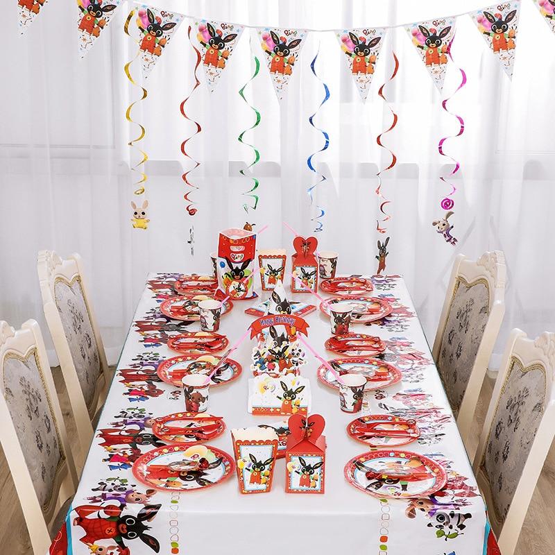 Дребезжащие кролик украшения для вечеринки в честь Дня рождения поставок одноразовые Бумага чашки пластин скатерть соломинки Воздушные ша...