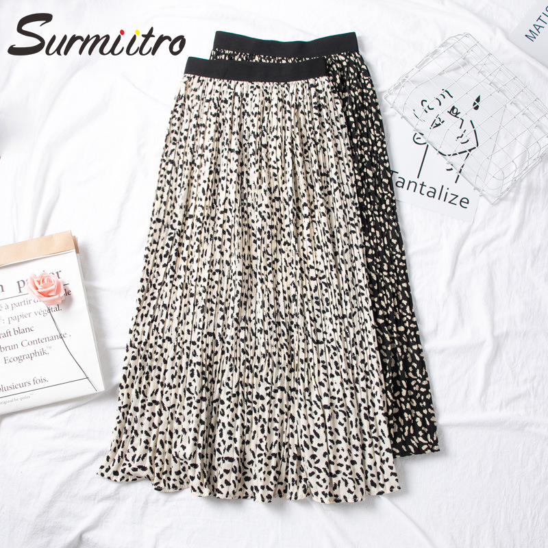 Surmiitro Floral Print Maxi Skirt Women With High Waist For 2020 Spring Summer Ladies Black White Long Pleated Skirt Female