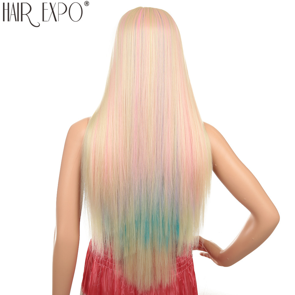 30inch Long Straight Synthetic Lace Front Wig Ombre Pink Blue Purple Cosplay Wigs For Black/Write Women Hair Expo City