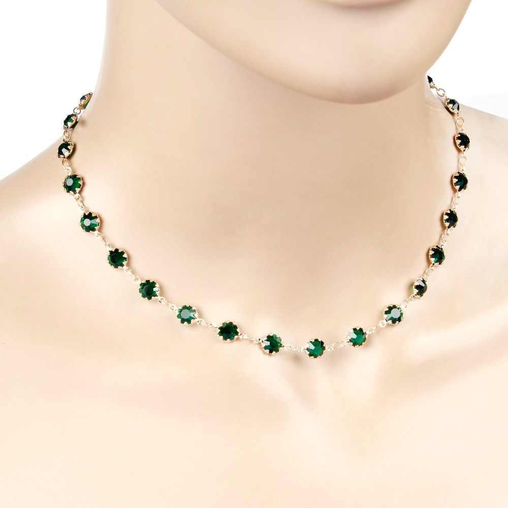 תכשיטים זהב כסף צבע ירוק זירקון קולר שרשרת גיאומטרית נשים קולייר Femme תכשיטים