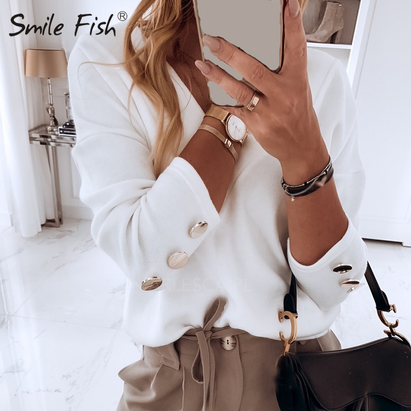 Buttons Long Sleeve V-Neck White Shirts Korean Fashion Women Blouses Casual Plus Size 2020 Fall Spring Femme Pullover Tops G1128