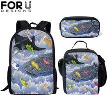 FORUDESIGNS 3Pcs School Bag Set for Kids Girls Cartoon Whale Seal Backpack Boy Bagpack Children Bookbag Satchel Daypack