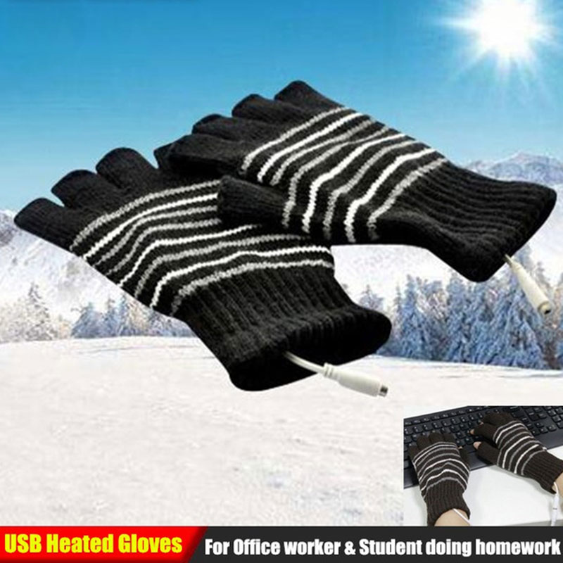 Knitted Heating Gloves Winter Gloves 5V 4 Color Knitting Heated Gloves Breathable Battery Powered Motorbike Sports Warm Gloves