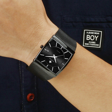 Full สีดำผู้ชาย 2019 นาฬิกาแบรนด์หรูธุรกิจนาฬิกาสแควร์นาฬิกาข้อมือชายผู้ชาย 2019 กีฬากันน้ำ Relogio Masculino