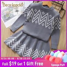 Bear Leader Girls Dress 2019 Winter Geometric Pattern Dress Long Sleeve Girls Clothes Top Coat+ Tutu Dress Sweater Knitwear 2pcs