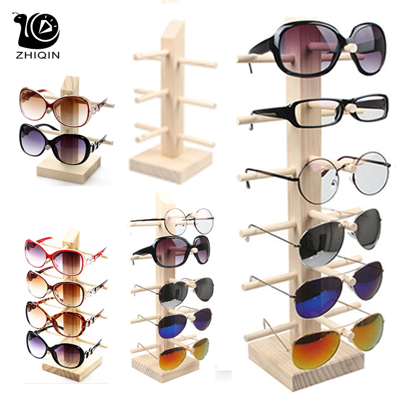 2~6 Layers Wood Sunglass Display Rack Shelf Glalsses Storage Eyeglasses Show Stand Jewelry Holder Multi Pairs Glasses Showcases