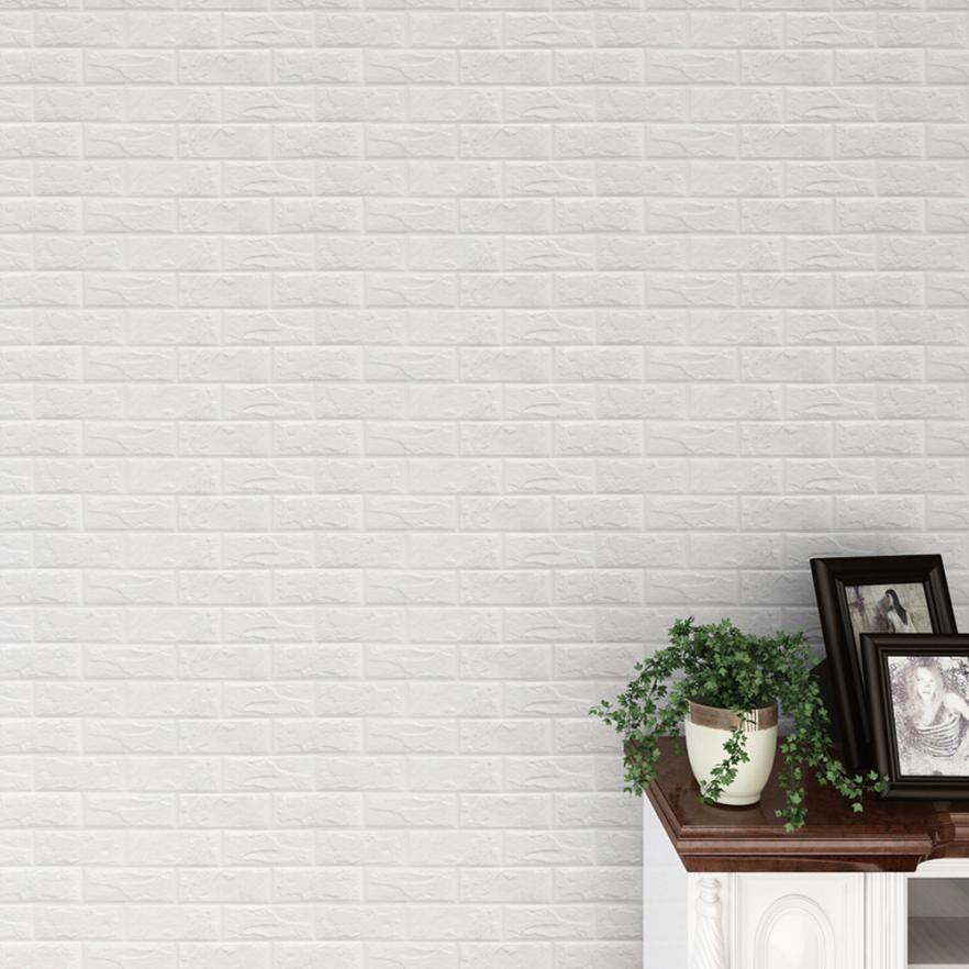 Brick Design Wall Panels 10 Pieces 3D Self-Adhesive Wall Sticker Waterproof PE Foam White Wallpaper for Living Room TV Wall and Home Decor