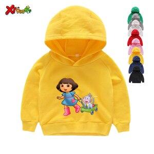Image 3 - Sudaderas con capucha para niña, ropa de algodón para niño, sudaderas con capucha de dibujos animados blancos para niño pequeño, suéter para bebé de Primavera de 2 a 7 años 2020
