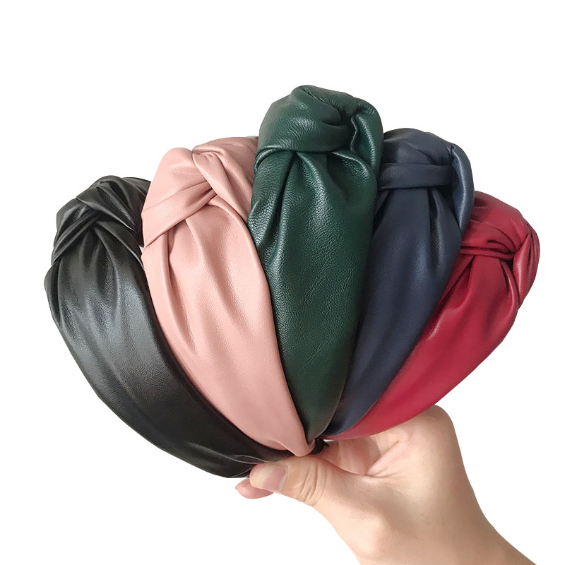 PU Leather Retro Hairbands For Women Top Knotted Wide Headbands Girls Hair Band Women Hair Accessories Handmade Head Hoop Bezel