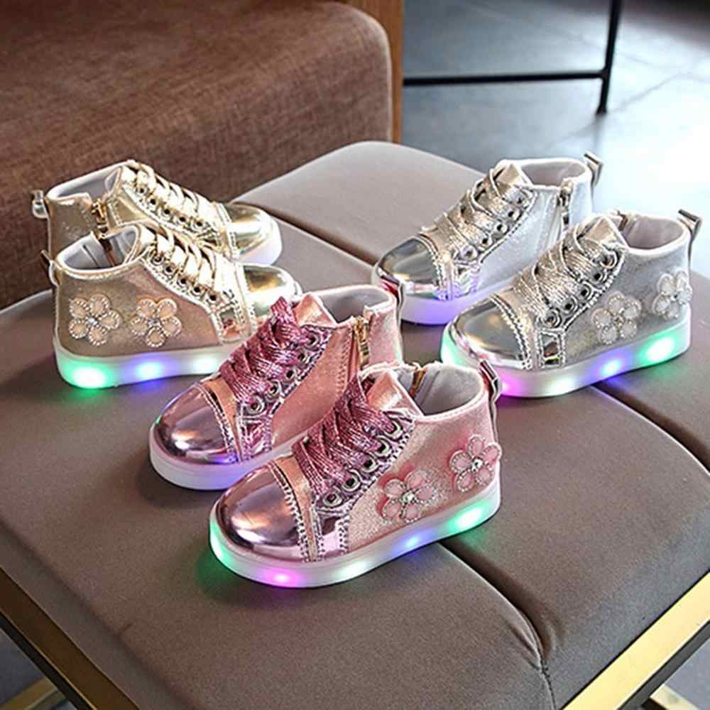2019 Fashion Children Baby Girls Floral Crystal Led Light Luminous Running Sport Boots Outdoor Shoes Sapato Infantil kids shoes