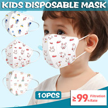 10 pces bebê máscara descartável máscara facial 0-3 anos de idade crianças dos desenhos animados 4ply orelha loop macio respirável máscaras à prova de poeira