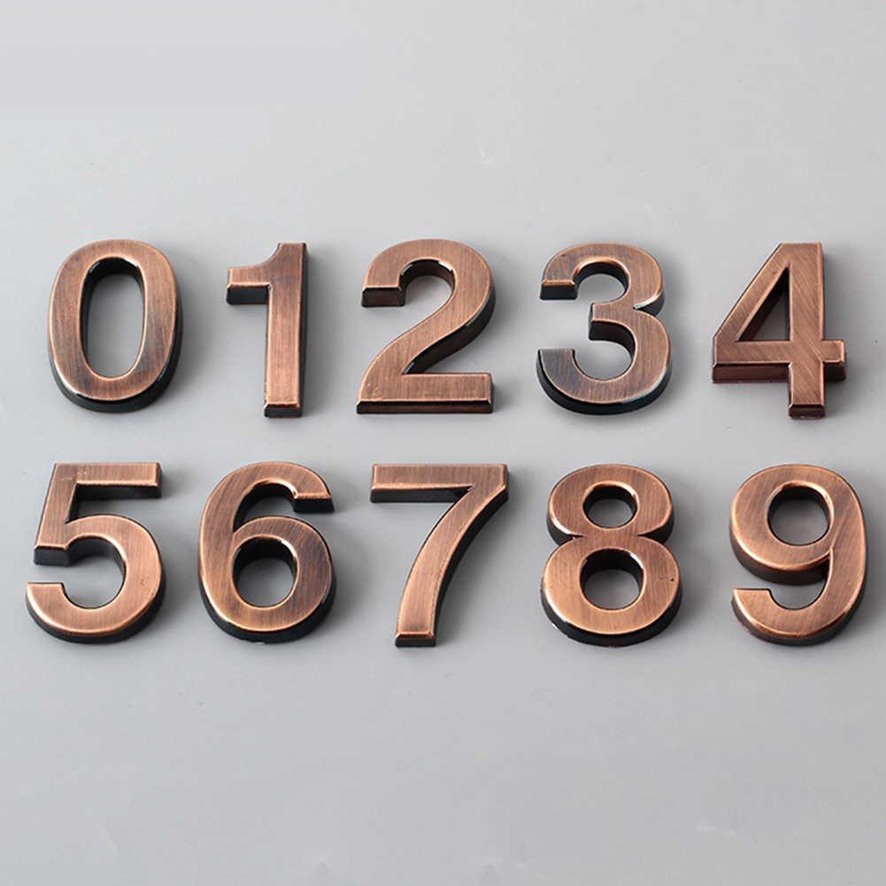 Pintu Rumah Hotel Alamat Digit Tanda Plat 0-9 Berlapis Plakat Alamat Nomor Door Plate Digit Angka Pintu Rumah dekorasi