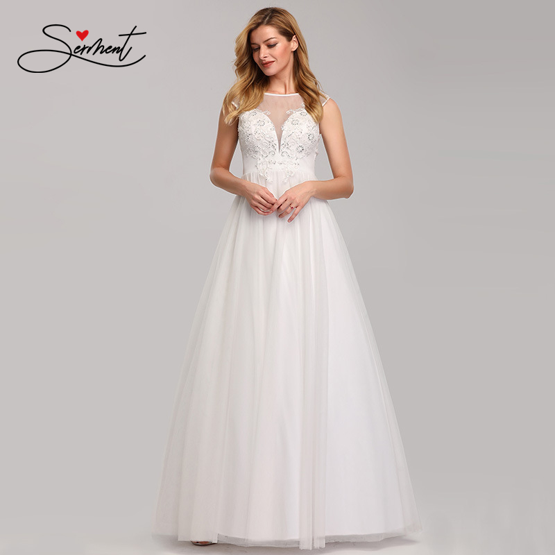 OLLYMURS New Elegant Woman Evening Gown White Lace Appliqu O-neck Elegant Evening Dress Suitable For Formal Parties