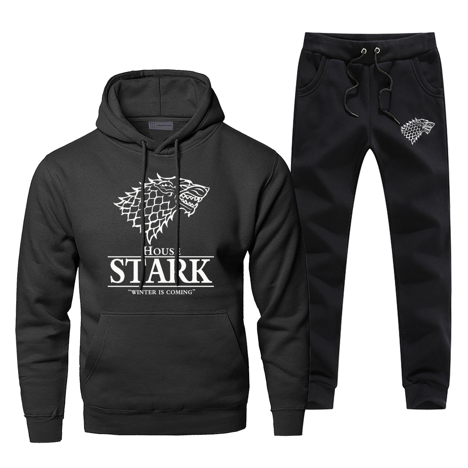Game Of Thrones House Stark Print Mens Suit 2019 New Arrival Fashion Complete Man Tracksuit Casual Hoodies Bodywarmer Sweatpants