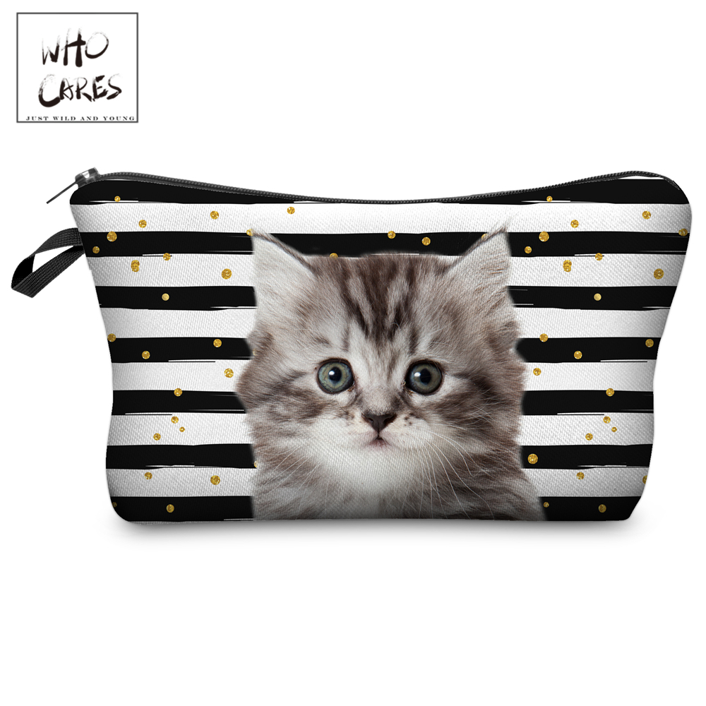 Who Cares Makeup Bags Women Cosmetic Bag Cute Cat Stars Printing Oiletry Bag Cosmetics Pouchs For Travel Make Up Bag