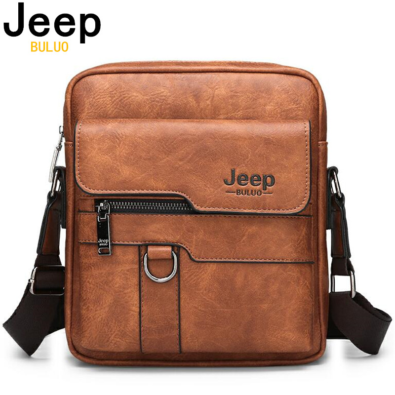 JEEP BULUO Man Leather Bag Shoulder Crossbody Bags For Men Cow Split Leather Male iPad Business Messenger Tote Bag