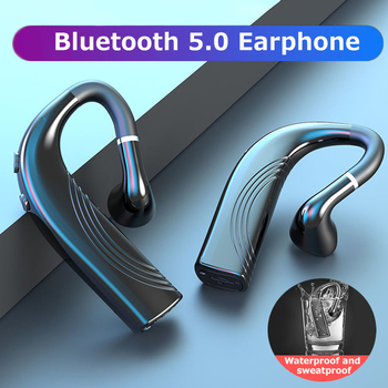 Wireless Bluetooth 5.0 Headset Long Standby with Mic Handsfree Sport bluetooth Earphone Waterproof Headphones Ear Hook For Phone foovdo wireless 5 0 bluetooth headset long standby with mic handsfree earphone sport headphones ear hook for mobile phone