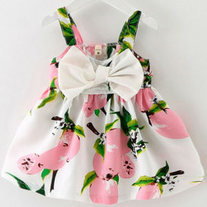 Girl Dress 2019 New Baby Dress Cartoon Pattern Print Lemon Cartoon Birthday Dress Female Baby Summer Clothes(China)