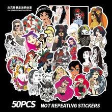 50Pcs Sexy Beauty Tattoo Girls Sticker Graffiti PVC Waterproof For Phone Laptop Motorcycle Skateboard Luggage Guitar Car