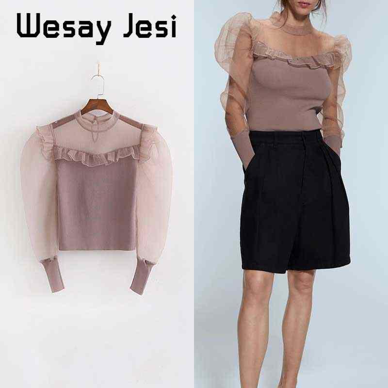 2019 Wanita Pakaian Musim Dingin Gaun Organza Vintage Jahitan Merajut Lengan Panjang Chic Sweater Wanita Pullover Top