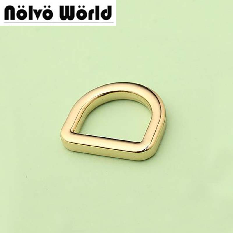 Nolvo World 5-20-100pcs 4 Colors 3.0mm Wire,13mm 0.5 Inch Bags Hardware Welded Fat Tabular Edge Closed Metal D Ring