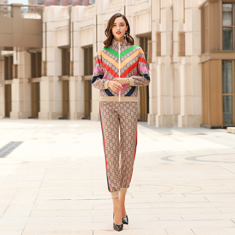 Xiaomoli Leisure Sports Stand Up Collar Striped Printed Sweater Pants Suit New In Spring 2020