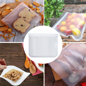 PEVA Food Storage Bag Translucent Frosted Refrigerator Freeze Fresh-keeping Bags Reusable Fruit Meat Milk Food Container With Zi image