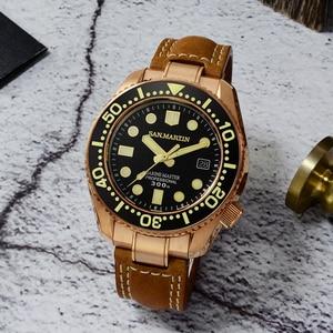 Image 3 - סן מרטין ברונזה צלילה שעון עסקי קלאסיקות אוטומטי גברים מכאני שעונים עור 300m מים עמיד זוהר Relojes