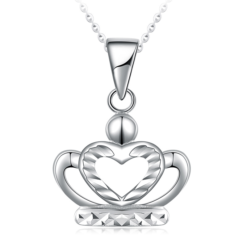 Classic Platinum Real White Solid Gold PT950 Crown Diamond Carve Pendant Necklace Clavicle for Women Girl Fine Office Jewelry