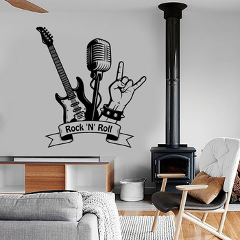 "Rock ""N"" Roll pared calcomanía música Rock guitarra micrófono Bar música habitación decoración Interior vinilo pared adhesivo mural artístico Cool S753"