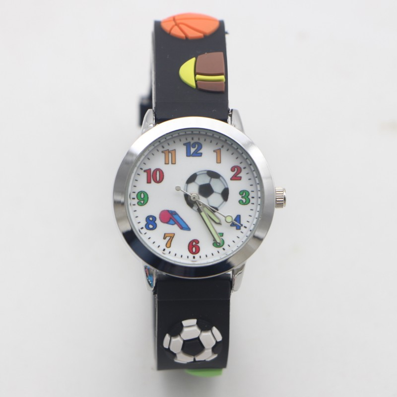 New Arrival 3D Cartoon Luminous Hour Hand Silicone Football Kids Watch Children Girls Boys Students Watches Relogio Kol Saati
