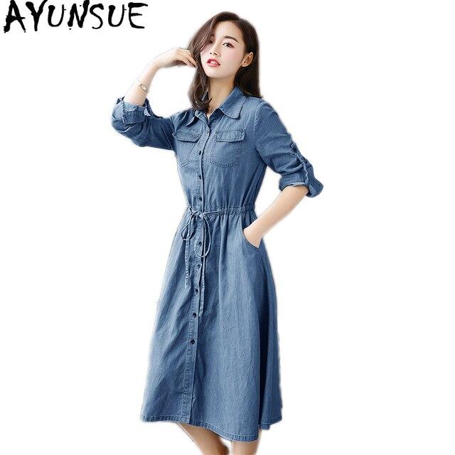 AYUNSUE Woman Dress 2020 Spring Summer Denim Dress Elegant Slim Jurken Long Sleeve Shirt Dresses For Women Vestiti Donna KJ094 1