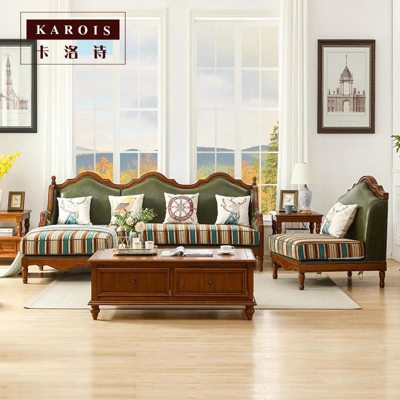 karois20 combinaison de canape d angle en bois massif et en cuir meuble de salon pays americain en forme de l