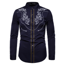PUIMENTIUA 2019 Men Casual Long Sleeve Shirts Male Wear Top Selling Mens Embroidery Slim Fit Button Down Shirt