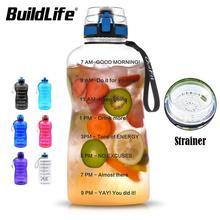 BuildLife botella de agua de 1,3 L y 2L, para Bpa Free Tritan, deportes al aire libre, gimnasio, Fitness, calabaza, deporte, botella de plástico con filtro