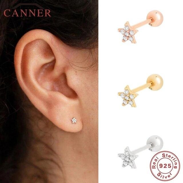 CANNER 1 Pair Real 925 Sterling Silver Stud Earrings for Women Piercing Cartilage Earring Minimalist Small Cute Earings Jewelry 4