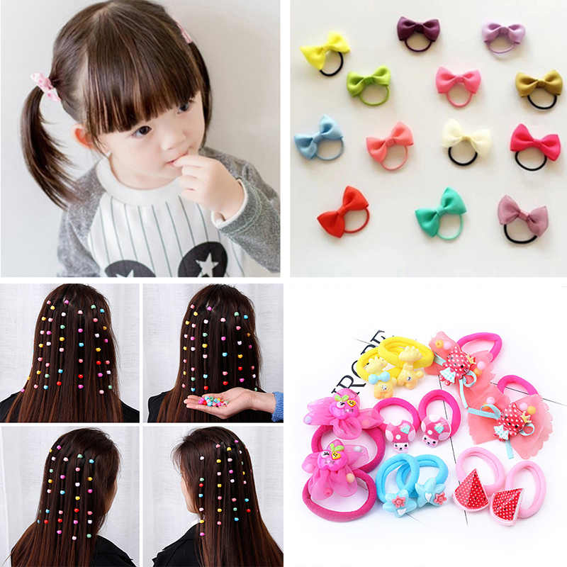 10Pcs/Lot Little Girl Baby Bows Hair Band Mini Bow Pompom Headband Toddler Kids Hair Ropes Hairband Baby Girl Hair Accessories