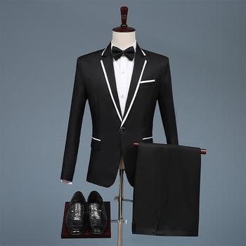 British Style Wedding Suits for Men White Peaked Lapel Slim Fit Suit Prom Dresses Fashion Casual Suit Men Tuxedo