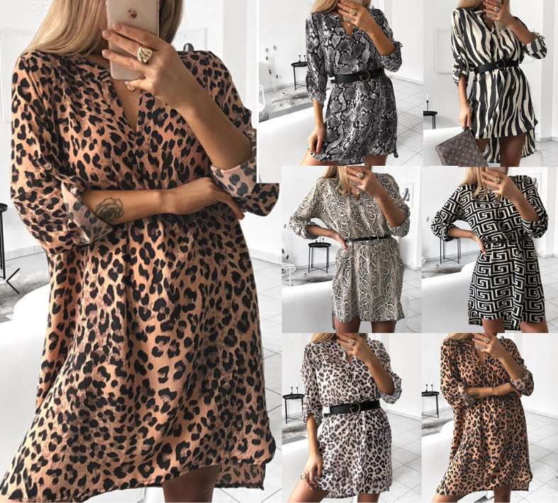 Wish Hot Selling <font><b>AliExpress</b></font> Amazon EBay Hot Selling V-neck Long Sleeve Snakeskin Print Shirt <font><b>Dress</b></font> No Belt image