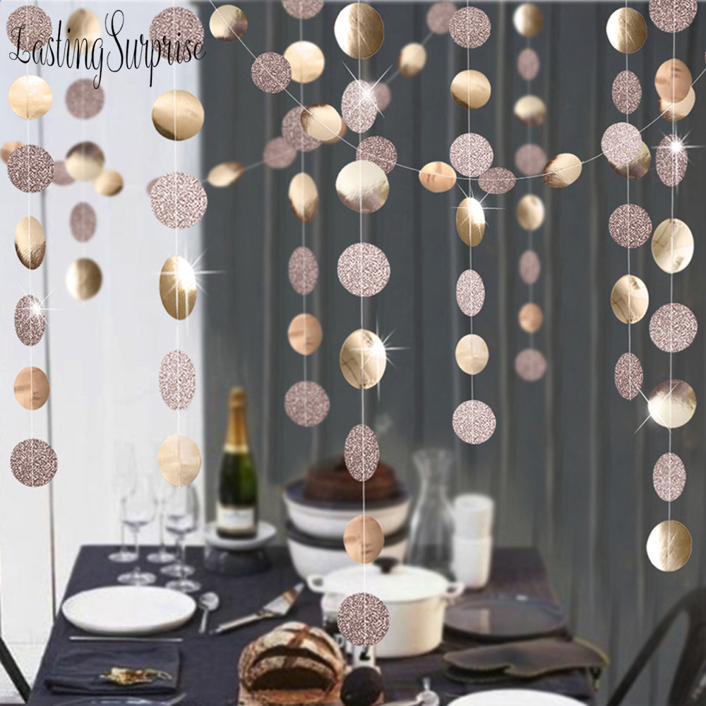 Ornaments  Rose Gold Paper Garland Hanging Flag Glitter Powder  banner