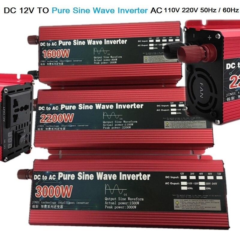 Инвертор немодулированного синусоидального сигнала 12 В/24 В переменного тока 220 В 1000 Вт 2000 Вт 3000 Вт трансформатор напряжения Преобразователь...