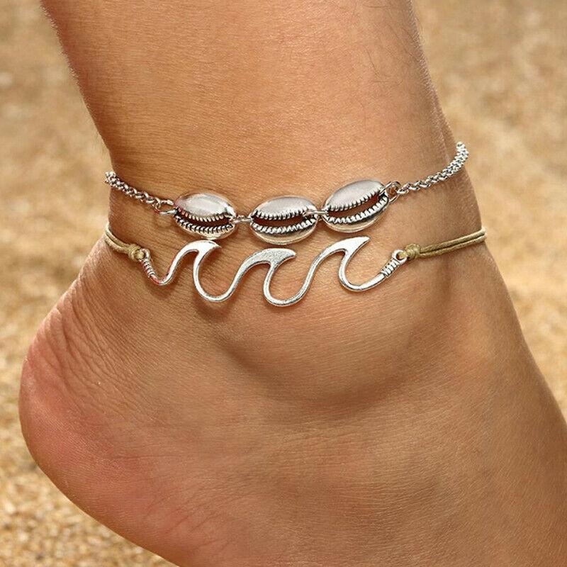 2pcs//set Womens Boho Silver Rope Wave Shell Anklet Bracelet Sandal Beach Jewelry