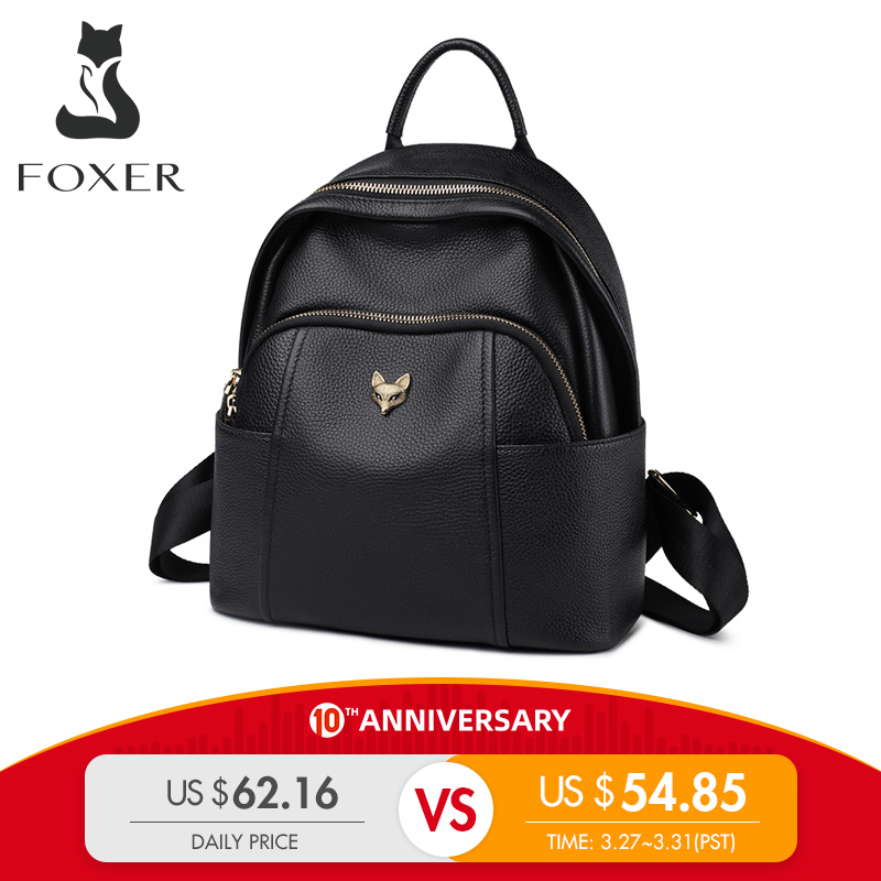 FOXER Genuine Leather Girl's  School Bag Feminina Casual Multifunction Women Travel Backpack Soft High Quality Ladies Rucksacks