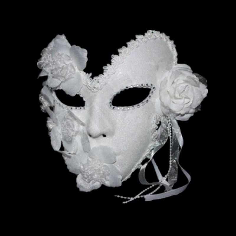 Женская маска для Венецианского маскарада элегантная кружевная маска принцессы с перьями на все лицо для карнавала и вечевечерние белая ма...