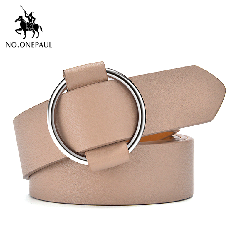 NO.ONEPAUL Women Leather Belt Round Metal Pin Buckle Circle Punk Fashion The Belt For Women Waist Belts Female Jeans Decoration
